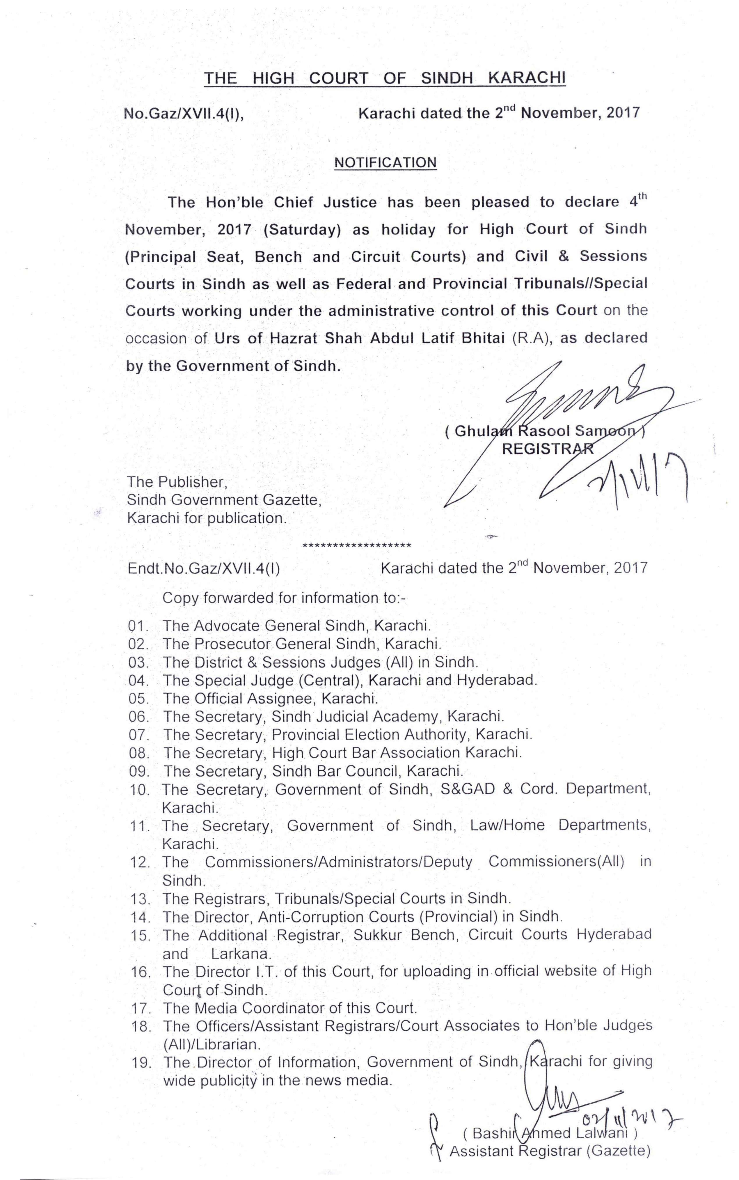 Welcome To High Court Of Sindh Circuit Kamran Ahmed Uk Gaz Xvii4i Regarding Declaration 4th November 2017 Saturday As Holiday For Principal Seat Bench And Courts Civil